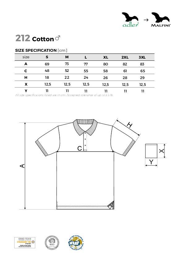 Cotton 212 Polokošile pánská - Textil ADLER e6e0332219
