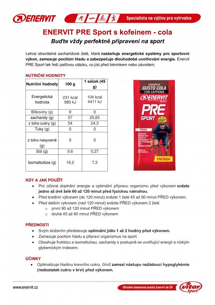 ENERVIT PRE SPORT sáček želé 45g cola+kofein