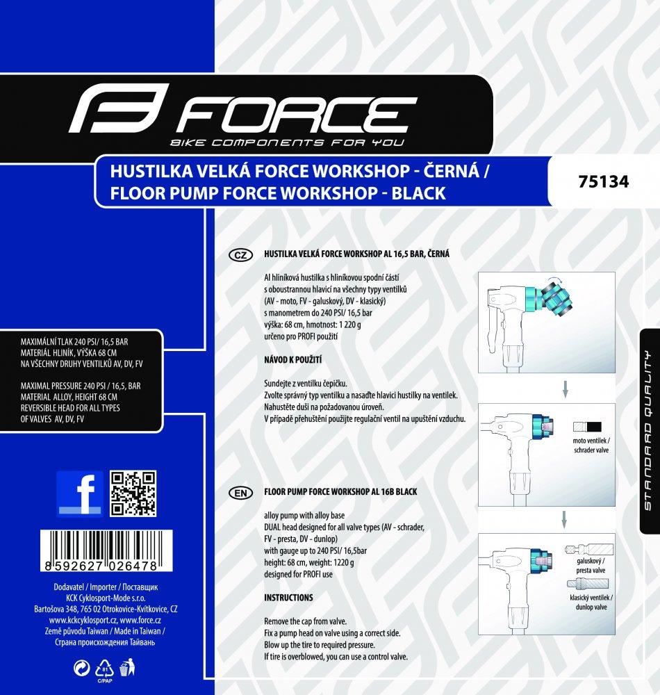 hustilka velká FORCE WORKSHOP Al 16,5 bar, černá
