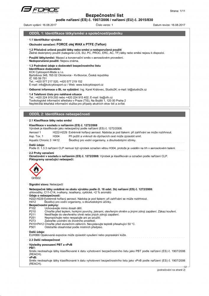mazivo-sprej FORCE olej WAX s PTFE (Teflon), 150ml