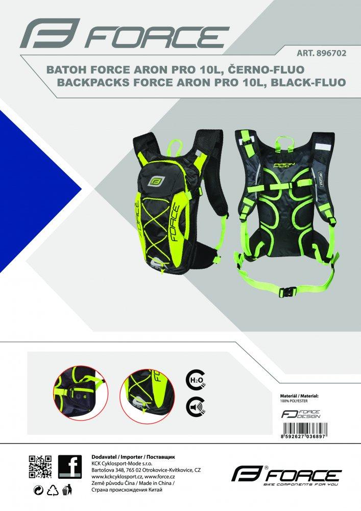 batoh FORCE ARON PRO 10 l, černo-fluo