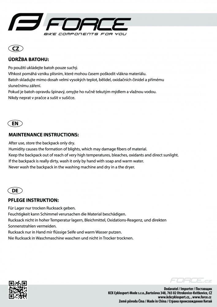batoh FORCE BERRY PRO PLUS 12L+2L rez., černo-fluo