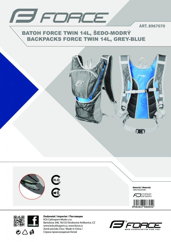batoh FORCE TWIN 14 l, šedo-modrý