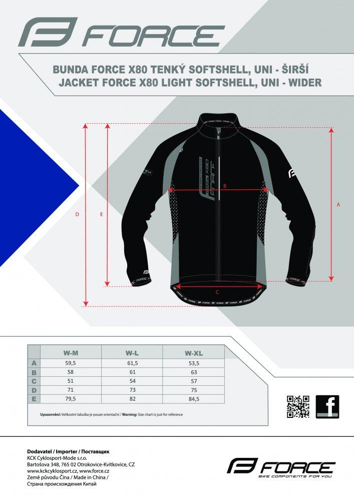 bunda F X80 tenký softshell, UNI,černo-šedá