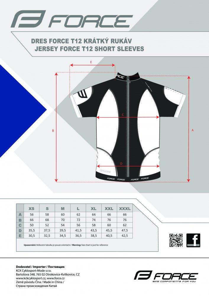 dres FORCE T12 krátký rukáv černo-fluo