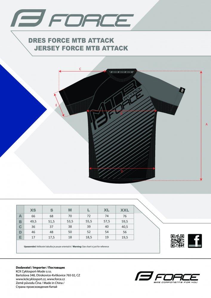 dres FORCE MTB ATTACK, modro-černý
