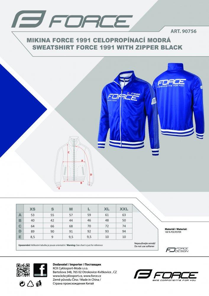 mikina FORCE 1991 celopropínací modrá