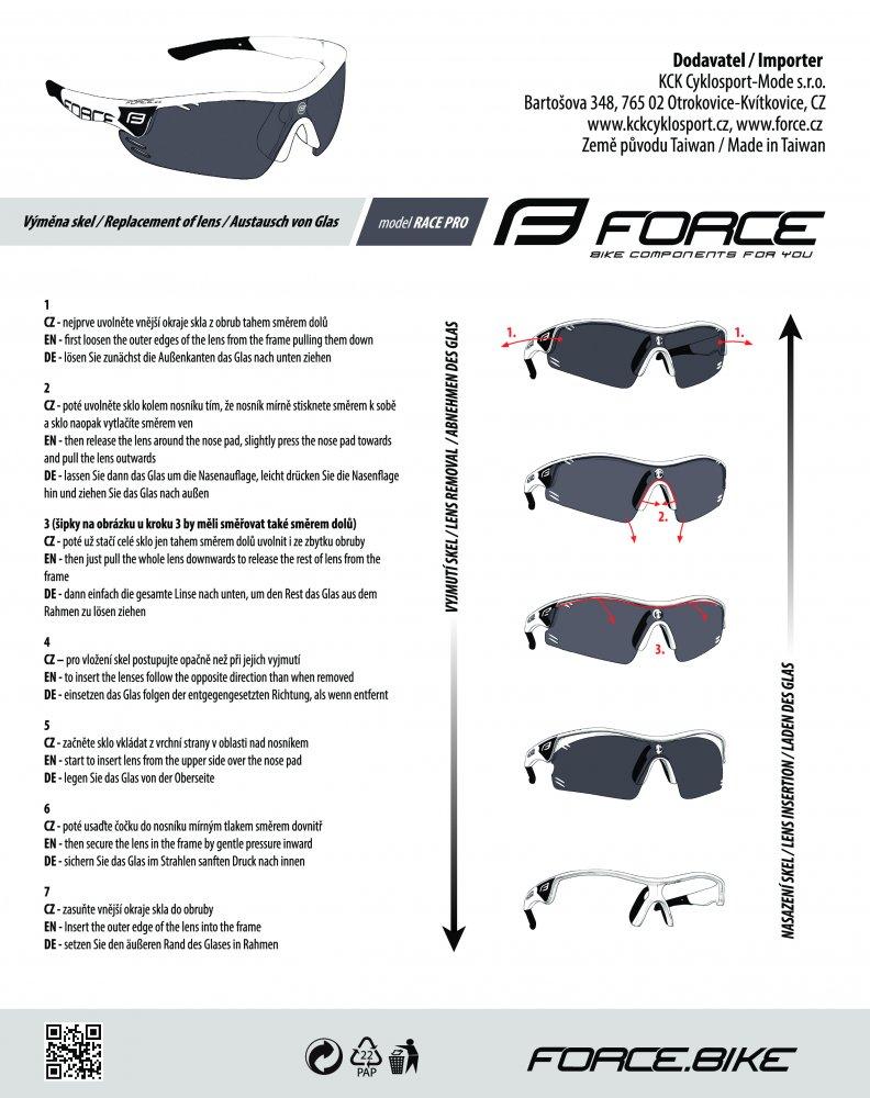 brýle FORCE RACE PRO bílo-červené, červená skla