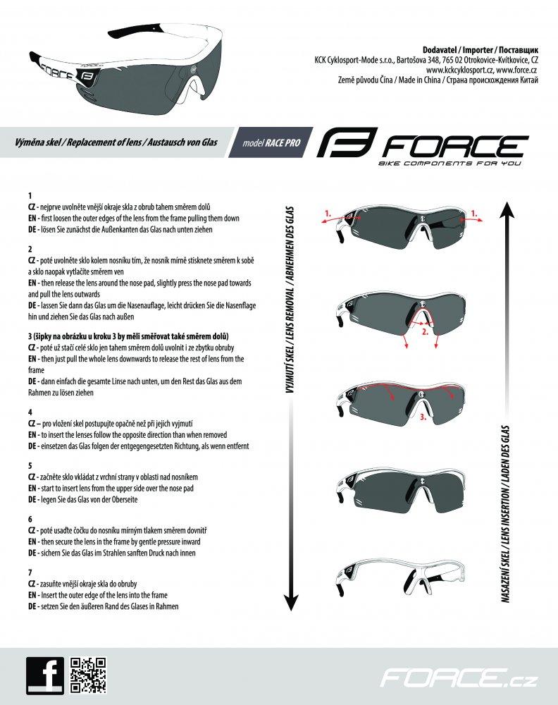 brýle FORCE RACE PRO růžovo-bílé, černá laser skla