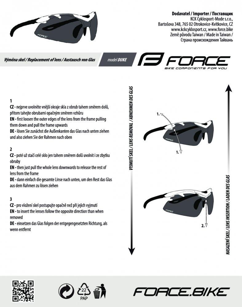 brýle FORCE DUKE oranžovo-černé, černá laser skla
