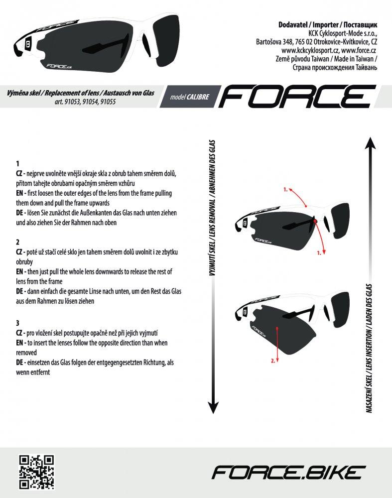 brýle FORCE CALIBRE černo-červ., černá laser skla