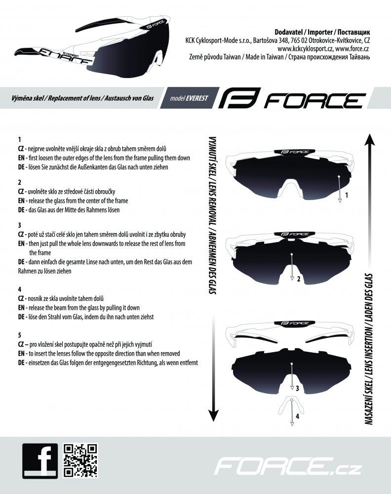 brýle FORCE EVEREST, fluo, černá skla