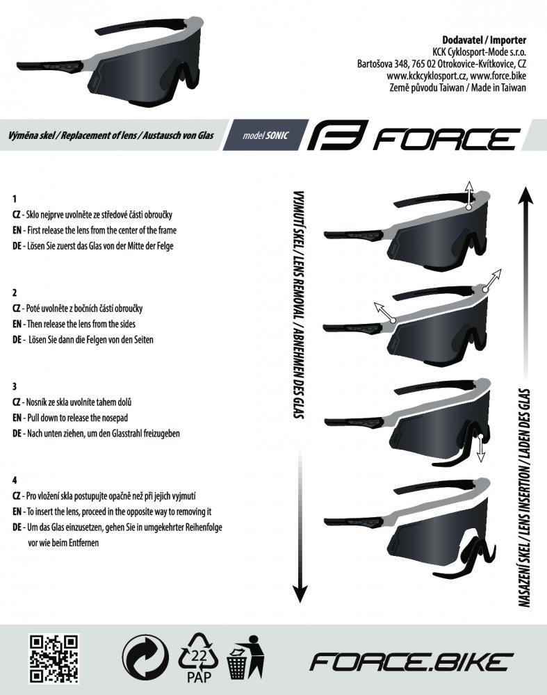 brýle FORCE SONIC šedo-černé, černá zrc. skla