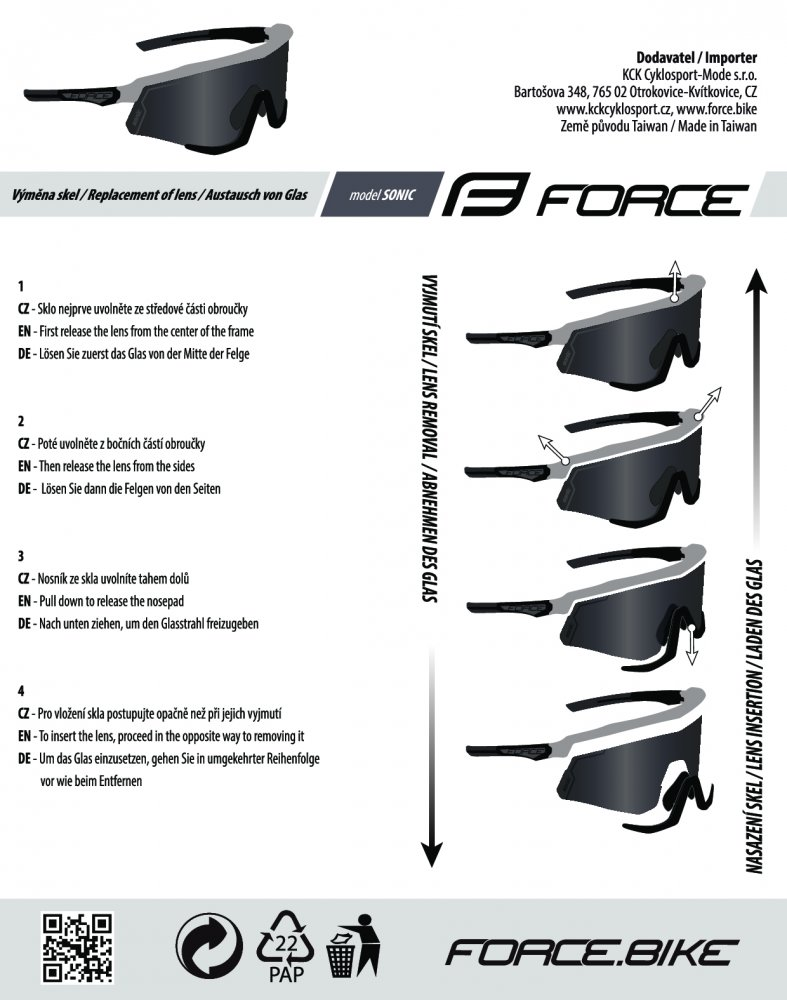 brýle FORCE SONIC černo-črv., fotochromatická skla
