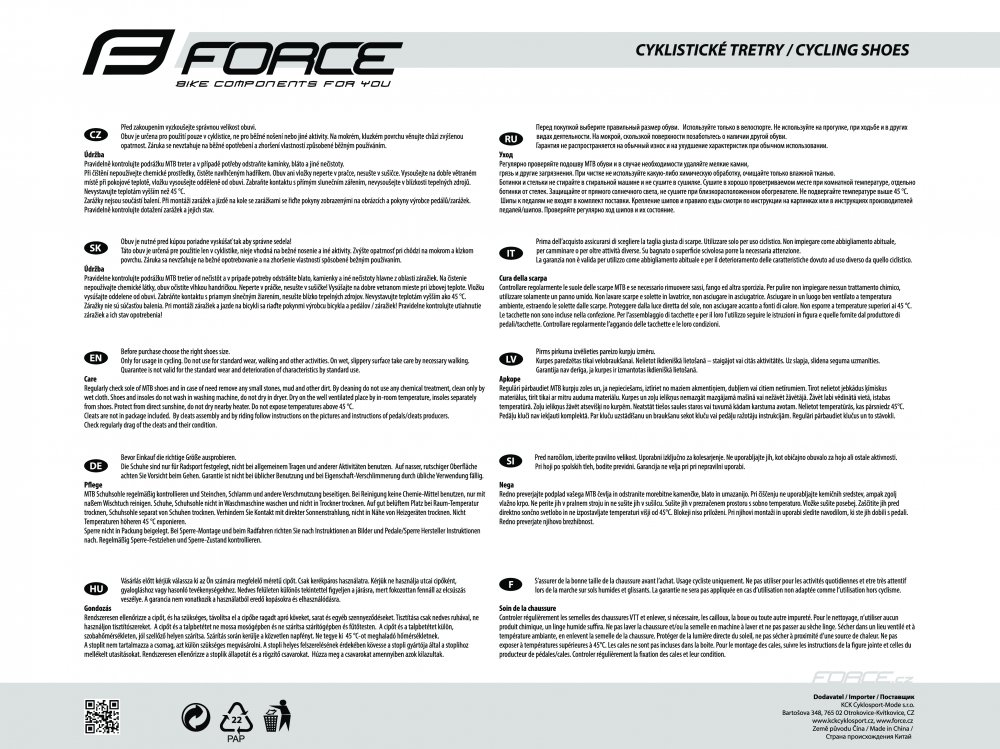 tretry FORCE MTB HARD, fluo-černé